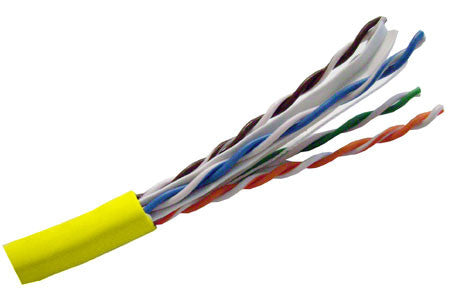 Hitachi CAT6 UTP Plenum Rated Bulk Cable (CMP) - 4 Pair, 1000 Feet, Yellow Color