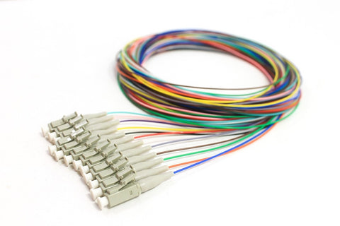 62.5/125/900µm multimode LC/PC Color Coded Pigtails, 3 Meters (12 pcs/pack)