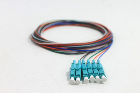 50/125/900µm OM3 Laser Optimized 10G LC/PC Color Coded Pigtails, 3 Meters (6 pcs/pack)