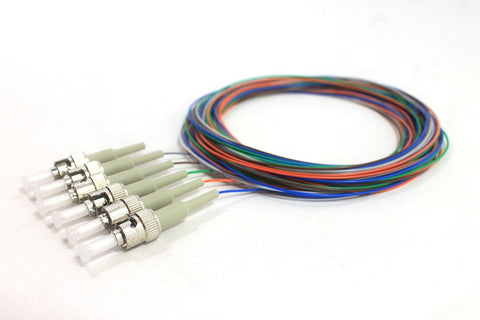 62.5/125/900µm multimode ST/PC Color Coded Pigtails, 3 Meters (6 pcs/pack)