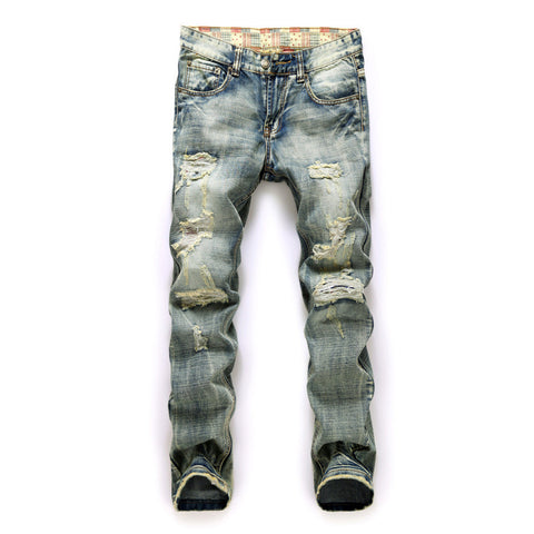 Acid-Washed Jeans With Holes