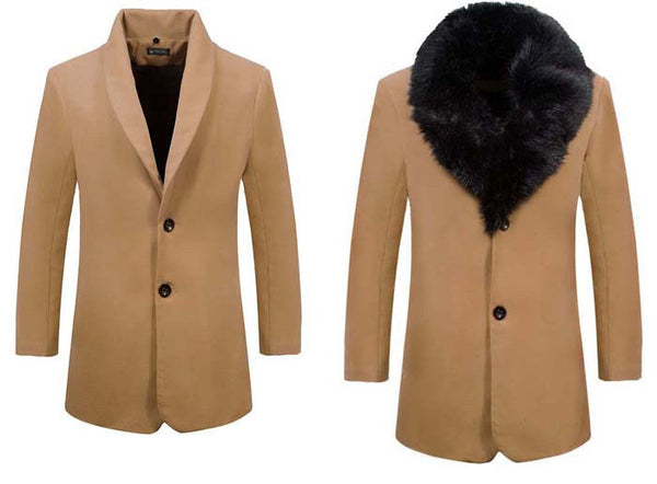 Long Stylish Woolen Coat with Fur Collar