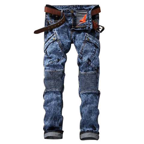 Multi Pockets Biker Jeans