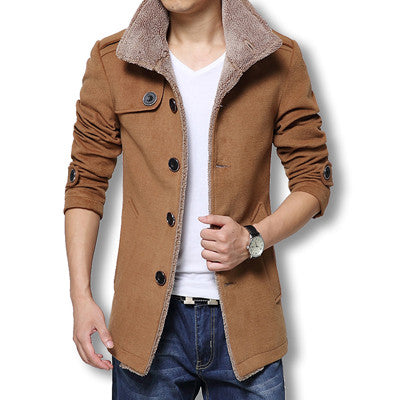 Long Wool Coat Jackets Khaki