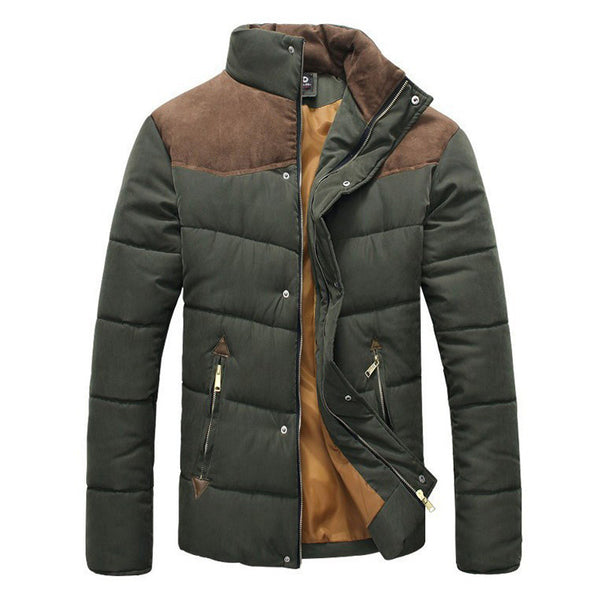 Men Splicing Cotton-Padded Jacket