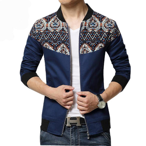 Hawaiian Patched Designer Casual Jacket Navy Blue