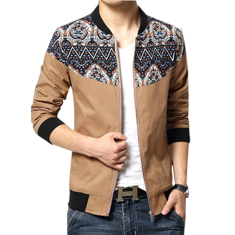 Hawaiian Patched Designer Casual Jacket Khaki