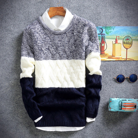 Comfortable Tricolored Knitted Pullover