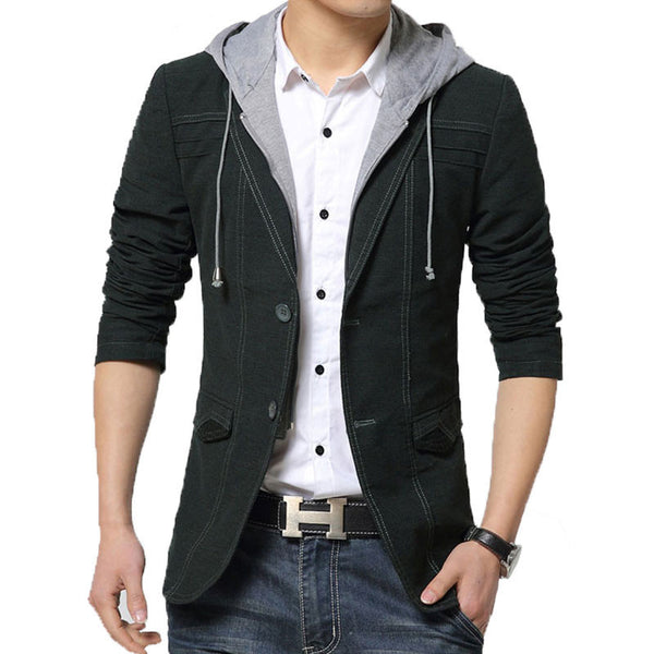 Spring Mens Hooded Blazer