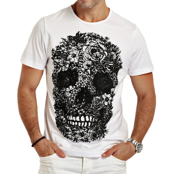 Cotton Casual T-Shirts Skull
