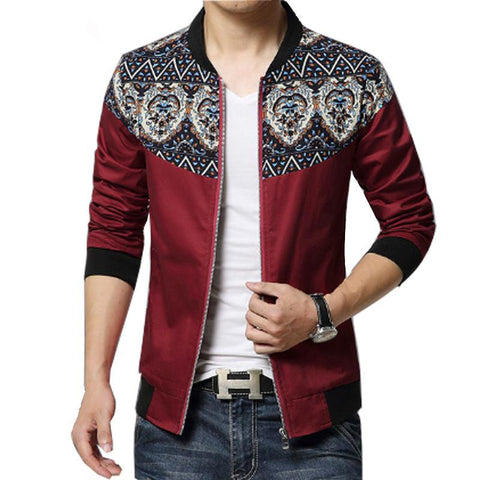 Hawaiian Patched Designer Casual Jacket Red