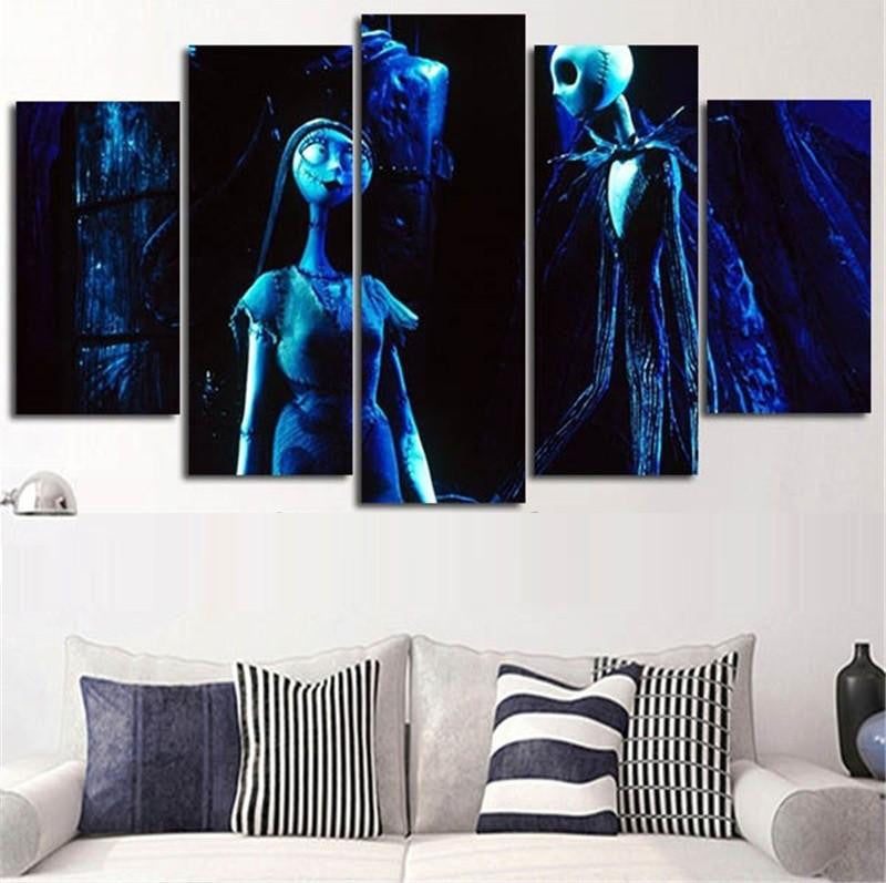 Nightmare Before Christmas 5 Piece   3D Wall Art Canvas