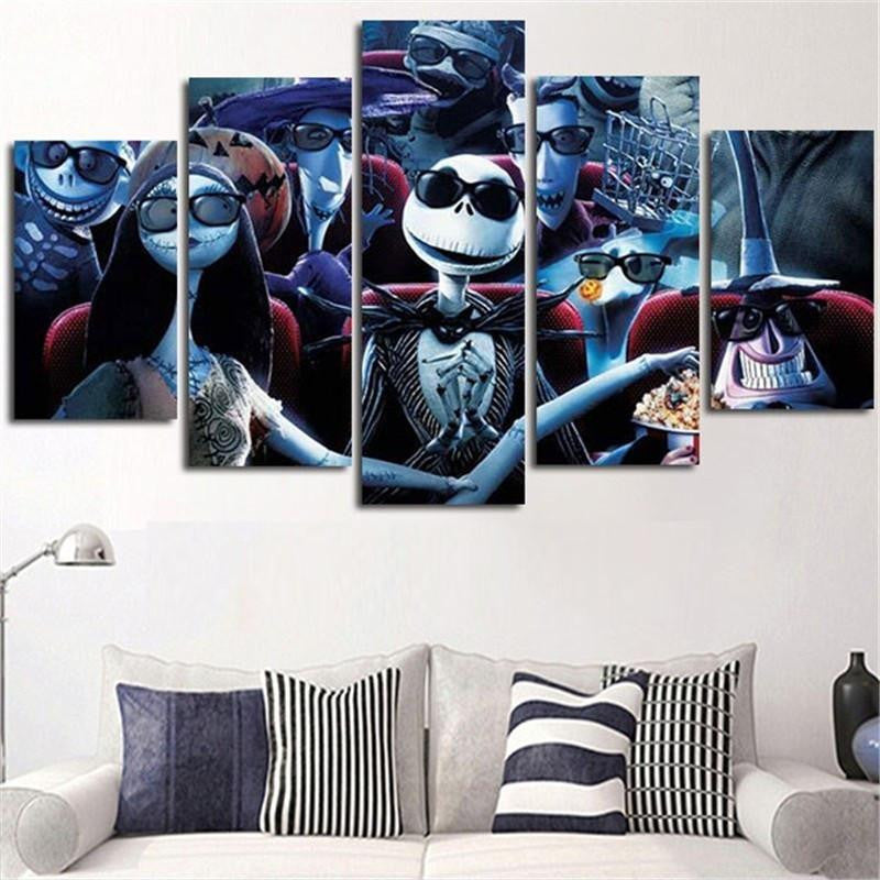 Nightmare Before Christmas 5 Piece 3d Wall Art Canvas Catchy Trend