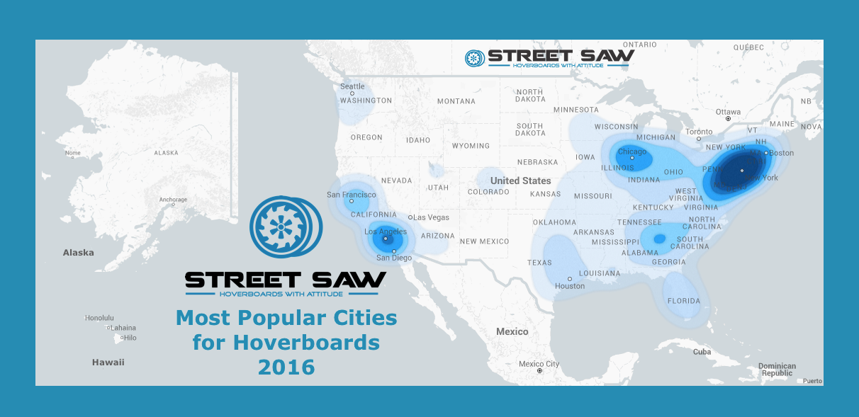 Most Popular Cities for a Hoverboard