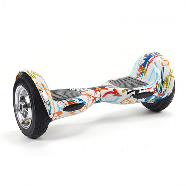 10 Inch Hoverboard White Graffiti with Black Pads