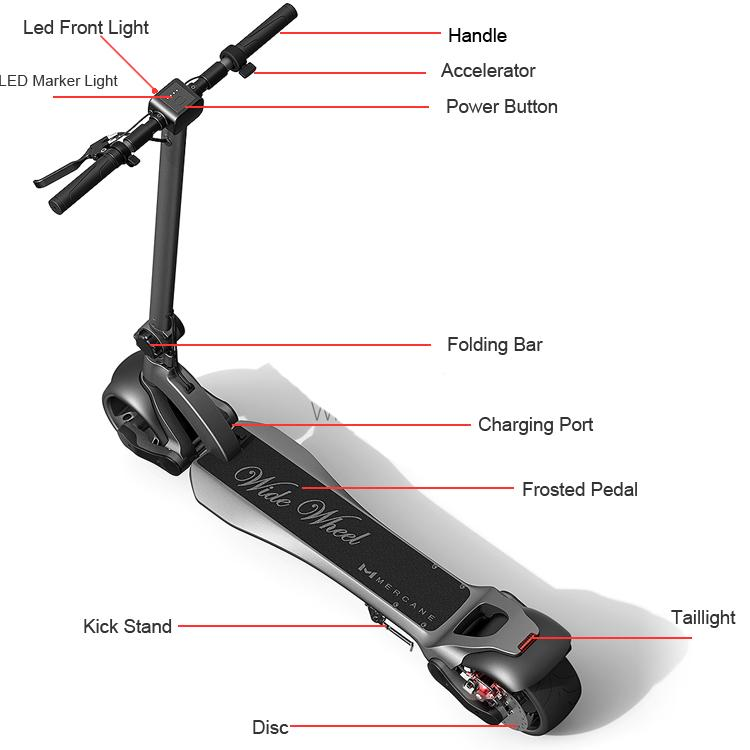 WideWheel Electric Scooter by Mercane - Double Wide - 48v, 1000w