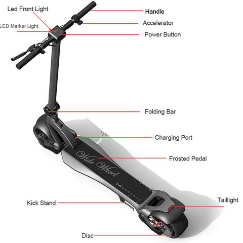 Image of WideWheel Electric Scooter by Mercane - Double Wide - 48v, 1000w