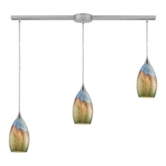 Geologic 3-Light Pendant In Satin Nickel