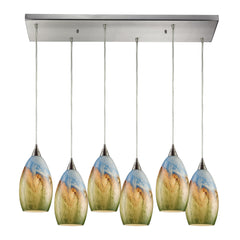 Geologic 6 Light Pendant In Satin Nickel