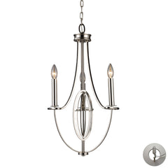 Dione 3-Light Chandelier In Polished Nickel With Adapter Kit