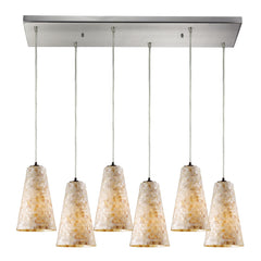 Capri 6 Light Pendant In Satin Nickel