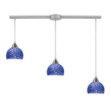 Cira 3-Light Pendant In Satin Nickel & Pebbled Blue Glass - 36''x6''