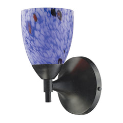 Celina 1-Light Sconce In Dark Rust & Starburst Blue Glass