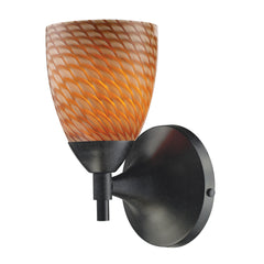 Celina 1-Light Sconce In Dark Rust w/ Coco Glass