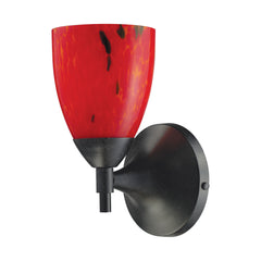 Celina 1-Light Sconce In Dark Rust & Fire Red Glass