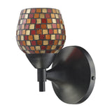 Celina 1-Light Sconce In Dark Rust w/ Multi Fusion Glass