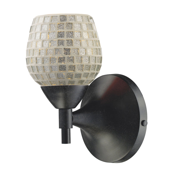 Celina 1-Light Sconce In Dark Rust w/ Silver Glass