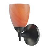 Celina 1-Light Sconce In Dark Rust w/ Sandy Glass