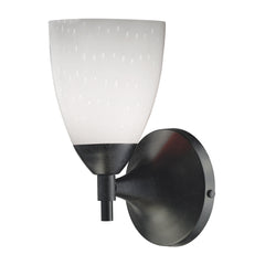 Celina 1-Light Sconce In Dark Rust & Simple White Glass