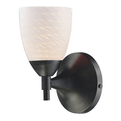 Celina 1-Light Sconce In Dark Rust w/ White Swirl Glass