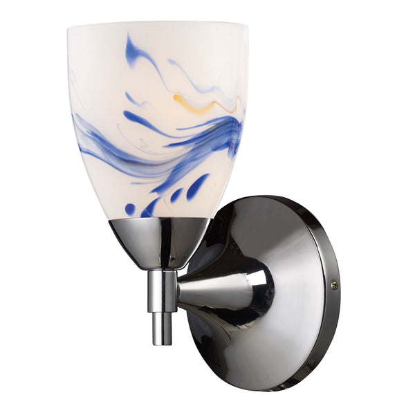 Celina 1-Light Sconce In Polished Chrome & Mountain Glass