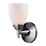 Celina 1-Light Sconce In Polished Chrome w/ White Swirl Glass