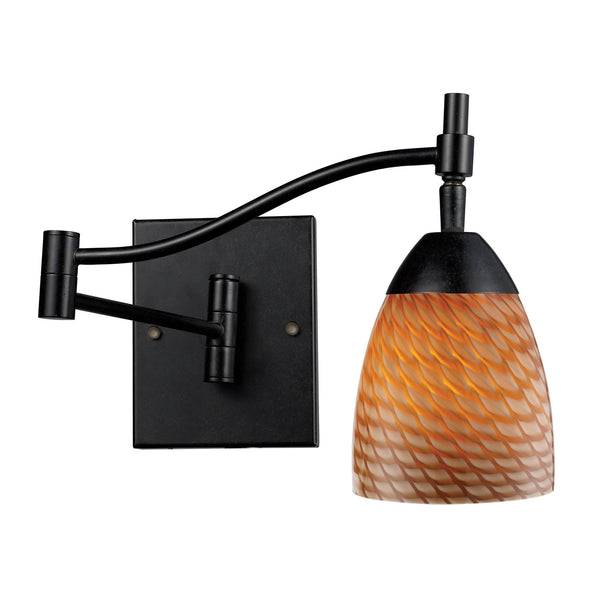 Celina 1-Light Swingarm Sconce In Dark Rust & Coco Glass