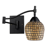 Celina 1-Light Swingarm Sconce In Dark Rust & Gold Leaf