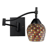 Celina 1-Light Swingarm Sconce In Dark Rust & Mountain Glass