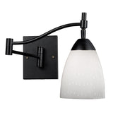 Celina 1-Light Swingarm Sconce In Dark Rust & Simple White Glass