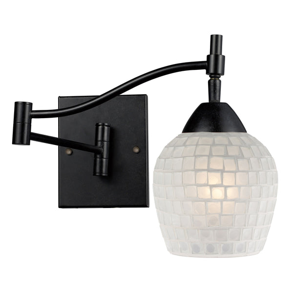 Celina 1-Light Swingarm Sconce In Dark Rust & White Glass