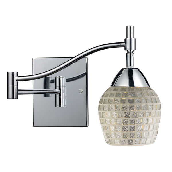 Celina 1-Light Swingarm Sconce In Polished Chrome & Silver Glass
