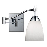 Celina 1-Light Swingarm Sconce In Polished Chrome & Simple Whit Glass