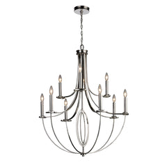 Dione 6+3-Light Chandelier In Polished Nickel