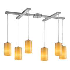 Coletta 6-Light Genuine Stone Pendant In Satin Nickel