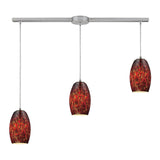 Maui 3 Light Pendant In Satin Nickel & Ember - 36''x8''