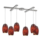Maui 6 Light Pendant In Satin Nickel & Ember - 33''x8''