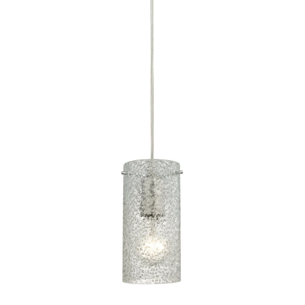 Ice Fragments 1 Light Pendant In Satin Nickel & Clear Glass