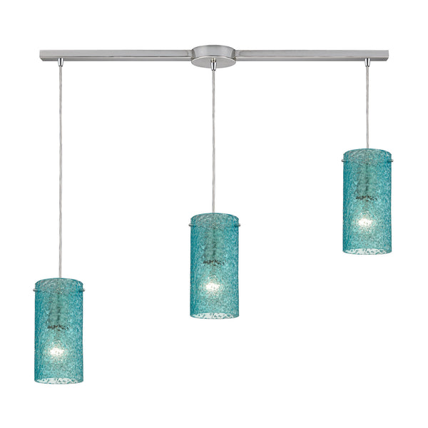 Ice Fragments 3 Light Pendant In Satin Nickel & Aqua Glass