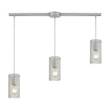 Ice Fragments 3 Light Pendant In Satin Nickel & Clear Glass
